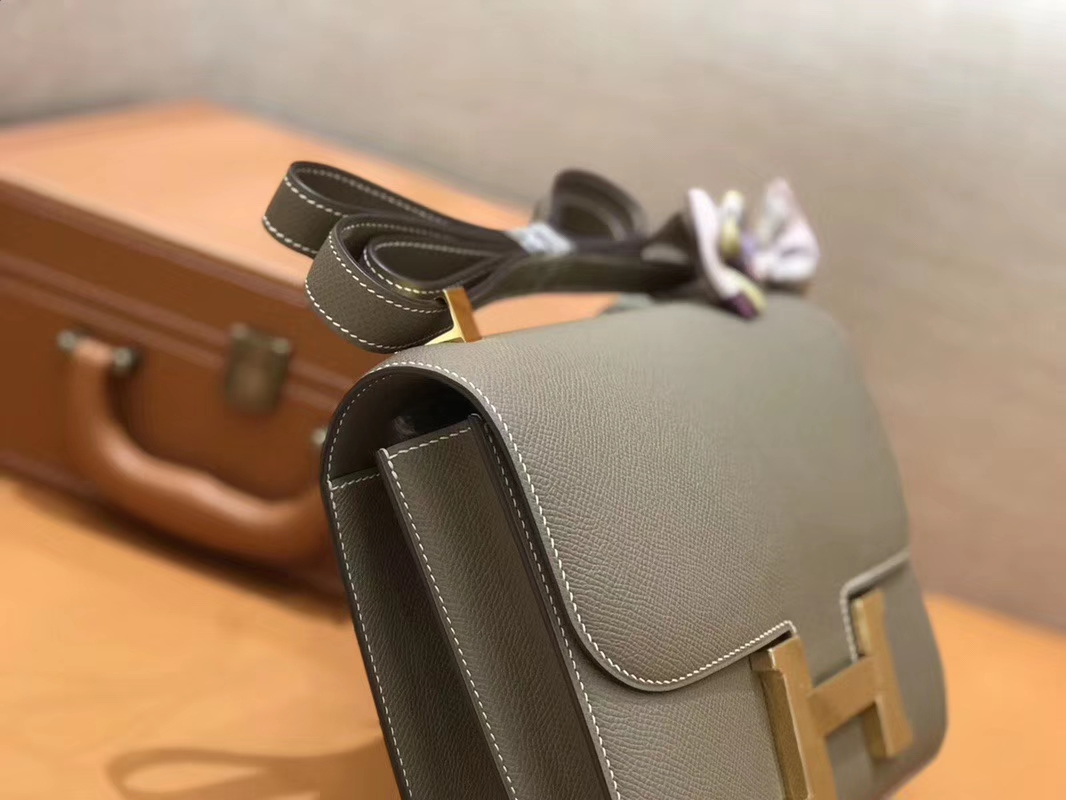 Hermès(爱马仕)Constance 空姐包 大象灰 Epsom掌纹小牛皮 臻品级别 金扣 23cm