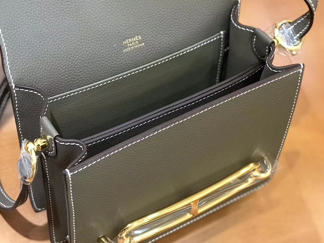 Hermès(爱马仕)Rouils 猪鼻包 大象灰 Evercolor 金扣 18cm