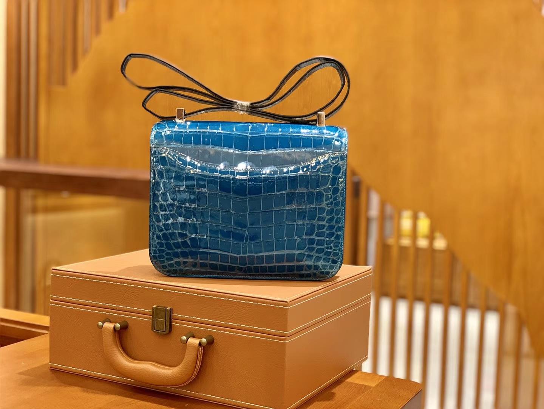 Hermès(爱马仕)Constance 空姐包 尼罗鳄 伊滋密尔蓝 一级 顶端级别 臻品级别 23cm