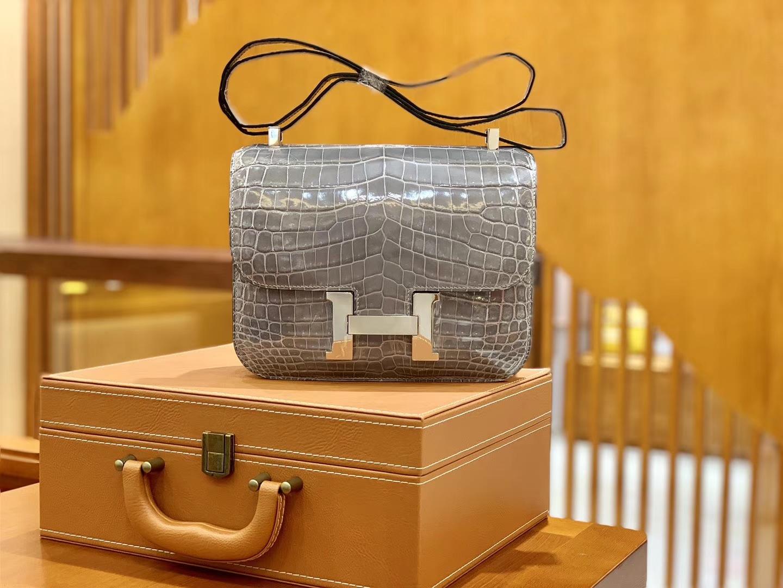 Hermès(爱马仕)Constance 空姐包 巴黎灰 一级 尼罗鳄 顶端级别 臻品级别 23cm