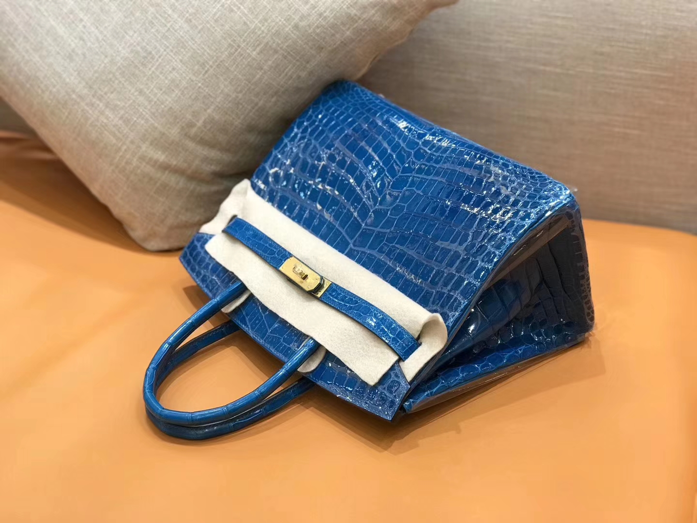 Hermès(爱马仕)新增现货 birkin 铂金包 电光蓝 一级鳄鱼皮 金扣 30cm