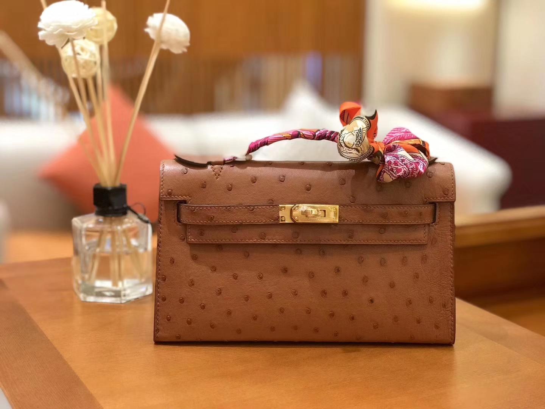 Hermès(爱马仕)miniKelly 迷你凯莉 焦糖棕 南非kk级鸵鸟皮 金扣 22cm