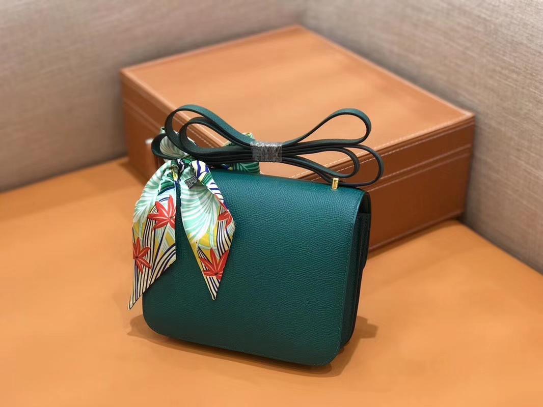 Hermès(爱马仕)Constance 空姐包 孔雀绿 Epsom掌纹小牛皮 臻品级别 金扣 18cm