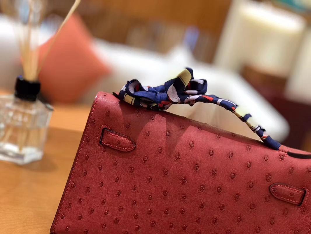 Hermès(爱马仕)Mini Kelly迷你凯莉 石榴红 南非kk级鸵鸟皮 臻品级别 1代 金扣 22cm