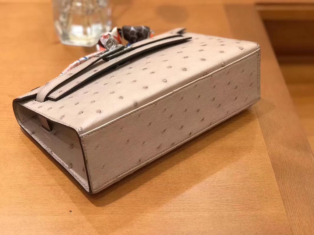 Hermès(爱马仕)Mini Kelly迷你凯莉 斑鸠灰 南非kk级鸵鸟皮 臻品级别 1代 银扣 22cm
