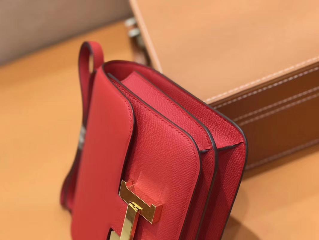 Hermès(爱马仕)Constance 空姐包 红色 Epsom掌纹小牛皮 臻品级别 金扣 18cm