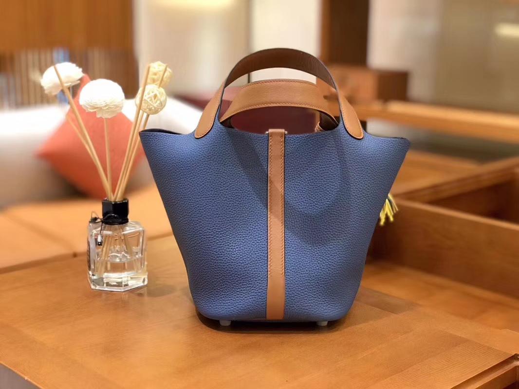 Hermès(爱马仕)Picotin 菜篮包 Swift金棕拼TC大牛 玛瑙蓝 银扣 18cm