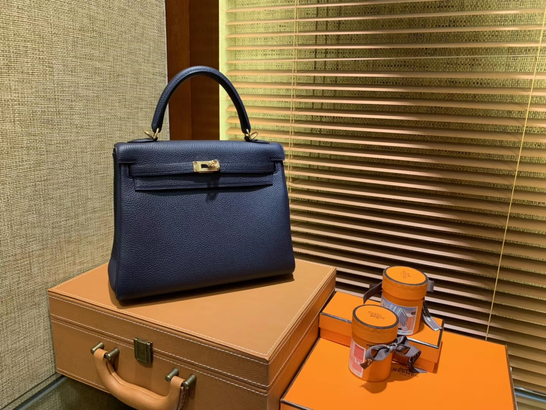 Hermès(爱马仕)Kelly 凯莉包 午夜蓝 德国进口 togo牛皮 手缝蜡线 金扣 25cm