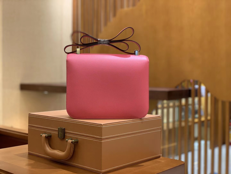 Hermès(爱马仕)Constance 空姐包 唇膏粉 EP掌纹牛皮 德国进口原料 23cm