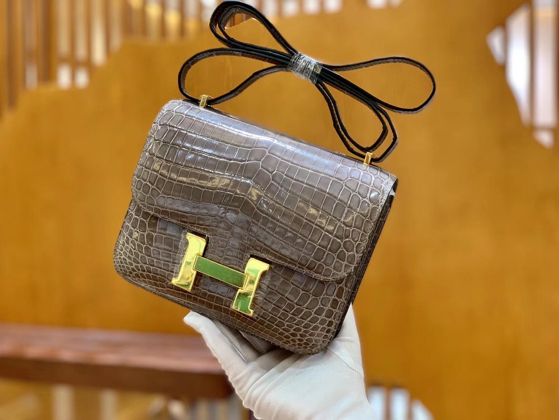 Hermès(爱马仕)Constance 空姐包 斑鸠灰 一级皮 尼罗鳄 顶端级别 臻品级别 金扣 18cm