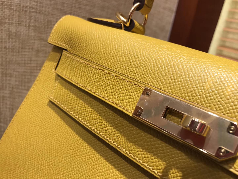 Hermès(爱马仕)Kelly 凯莉包 琥珀黄 德国进口 Epsom 掌纹牛皮 手缝蜡线 金扣 28cm