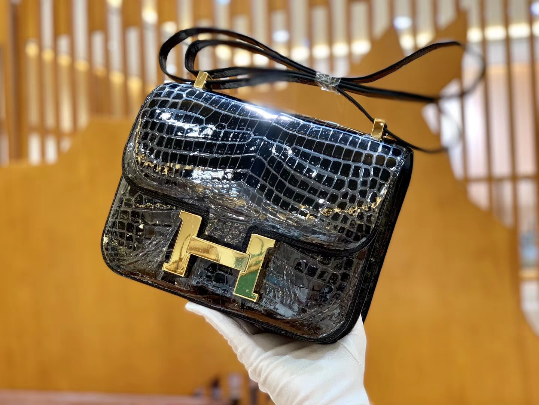 Hermès(爱马仕)Constance 空姐包 经典黑 一级 尼罗鳄 顶端级别 臻品级别 23cm