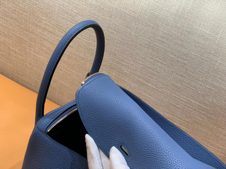 Hermès(爱马仕)Lindy 琳迪包 玛瑙蓝 Togo牛皮 进口原料 全手工缝制 银扣 26cm