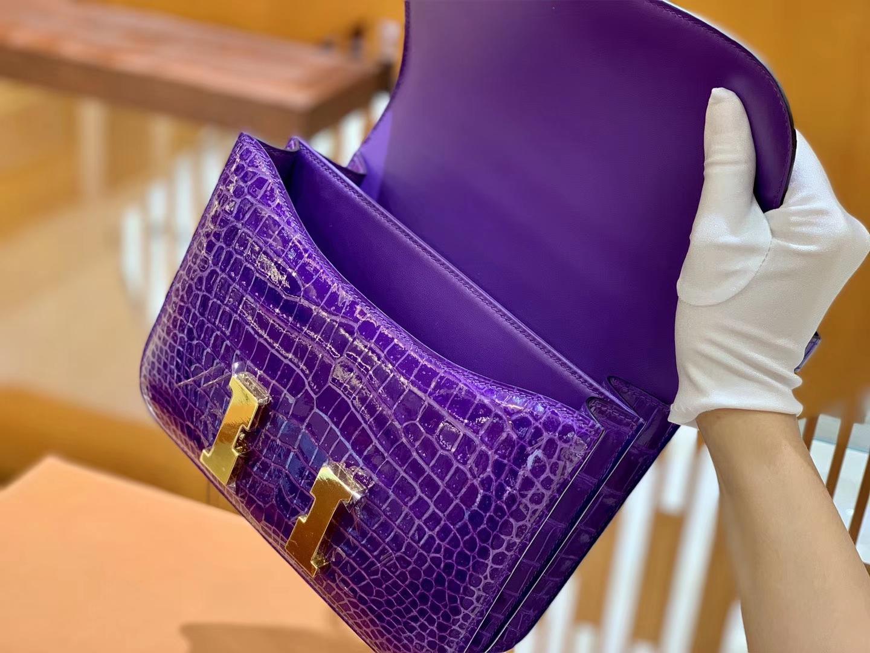 Hermès(爱马仕)Constance 空姐包 湾鳄 倒V 紫水晶 顶端级别 臻品级别 金扣 23cm