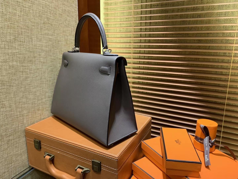 Hermès(爱马仕)Kelly 凯莉包 锡器灰 德国进口 Epsom 掌纹牛皮 全手缝蜡线 银扣 28cm