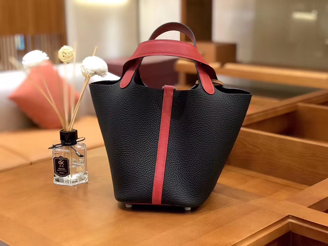 Hermès(爱马仕)Picotin 菜篮包 Swift红拼TC大牛黑 银扣 18cm