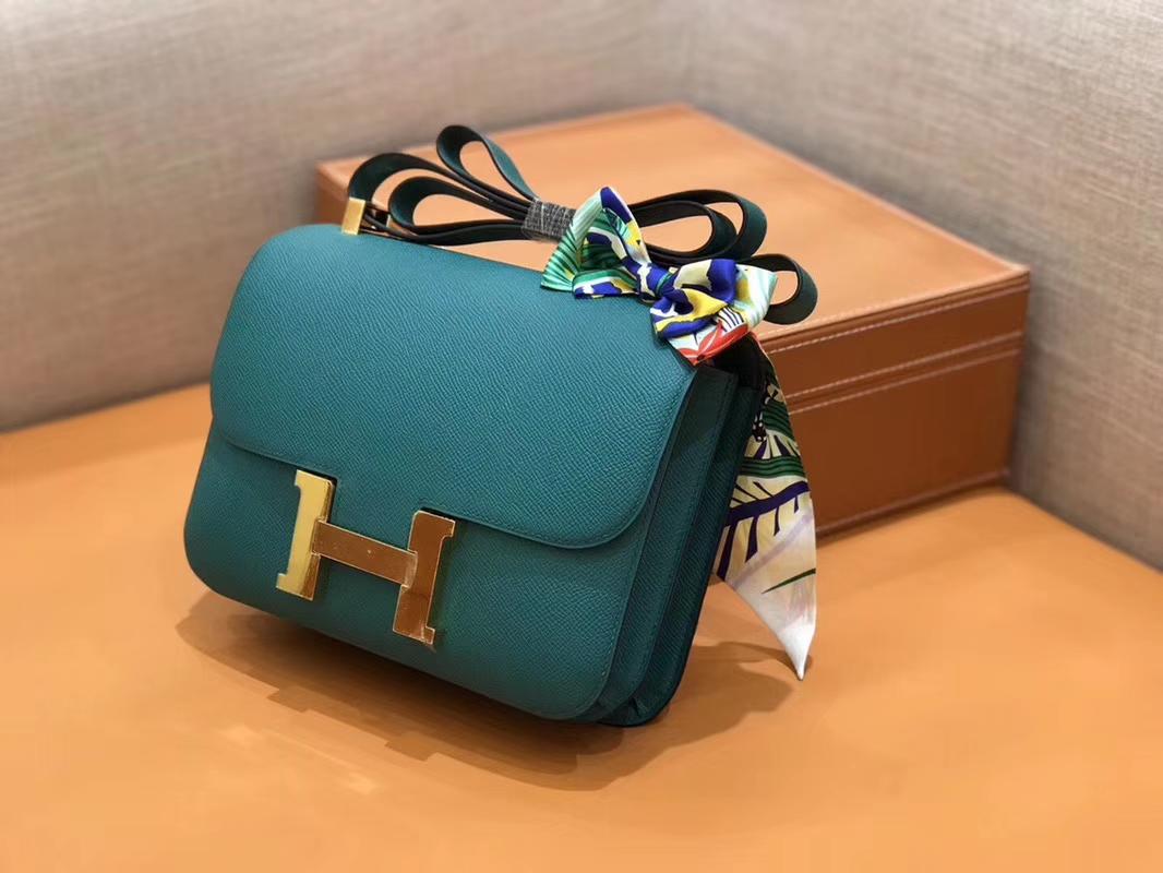 Hermès(爱马仕)Constance 空姐包 孔雀绿 Epsom掌纹小牛皮 臻品级别 金扣 23cm