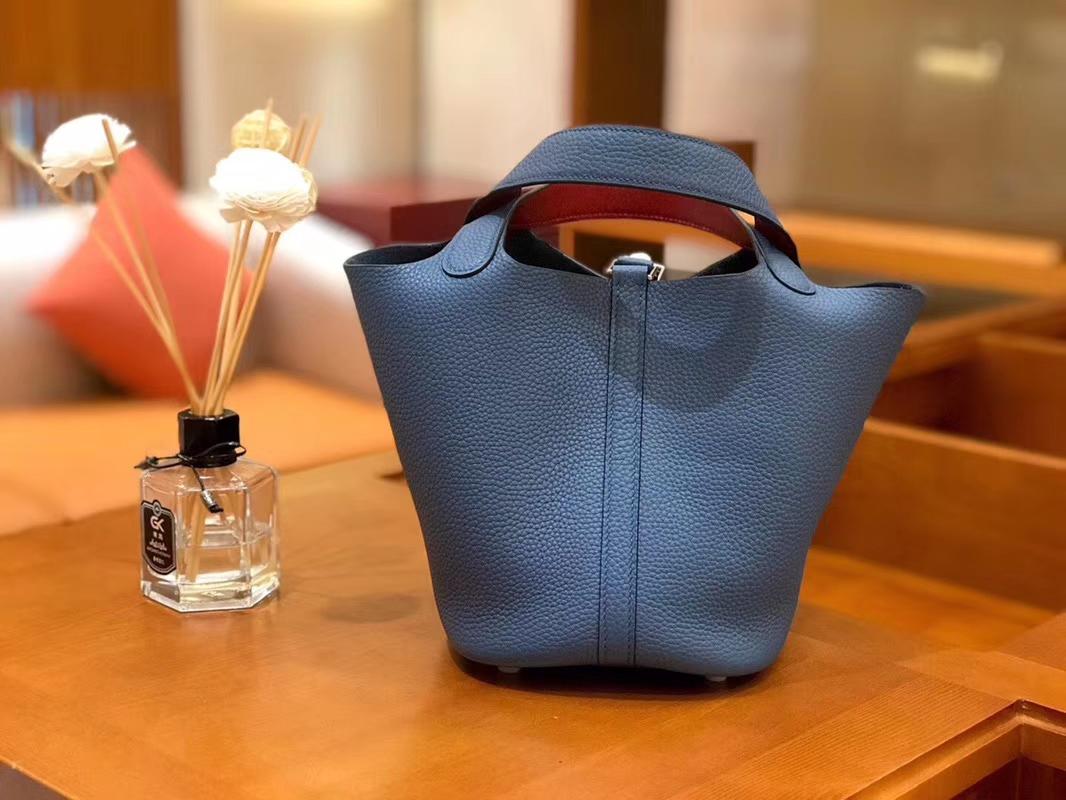 Hermès(爱马仕)Picotin 菜篮包 TC玛瑙蓝内拼swift红 银扣 18cm