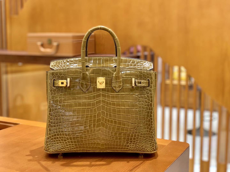 Hermès(爱马仕)Birkin 铂金包 芥末黄 一级皮 尼罗鳄鱼皮 臻品级别 金扣 25cm
