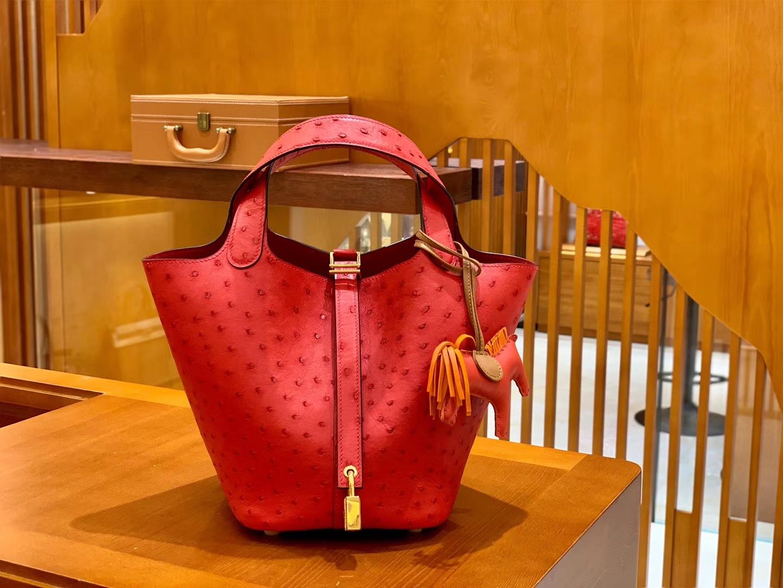 Hermès(爱马仕)Piction 18cm 国旗红 金扣 鸵鸟皮 全手工缝制 现货