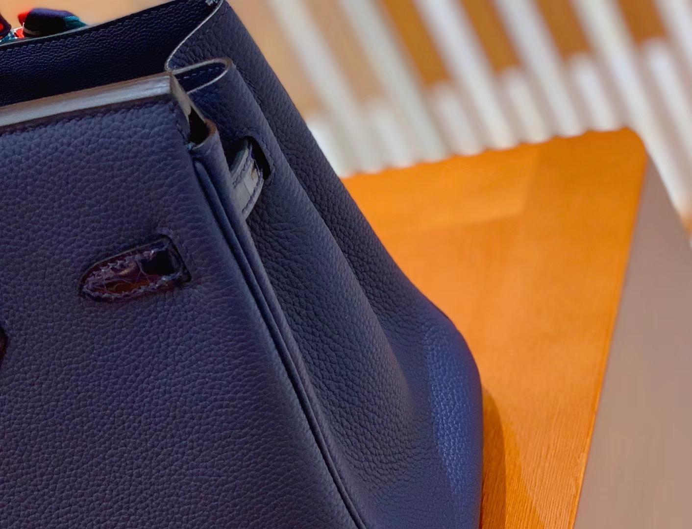 Hermès(爱马仕)Birkin 铂金包 午夜蓝 鳄鱼皮拼牛皮 金扣 25cm