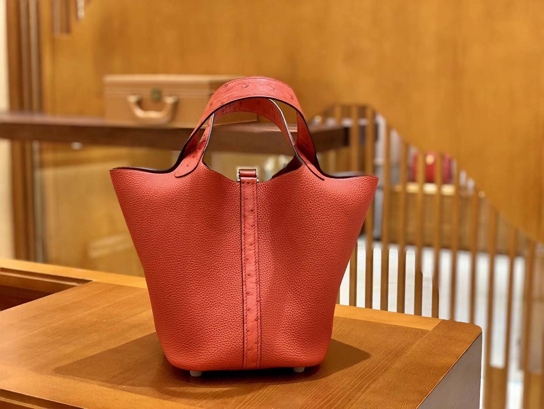 Hermès(爱马仕)Piction 18cm 国旗红 银扣 鸵鸟皮拼牛皮 全手工缝制 现货