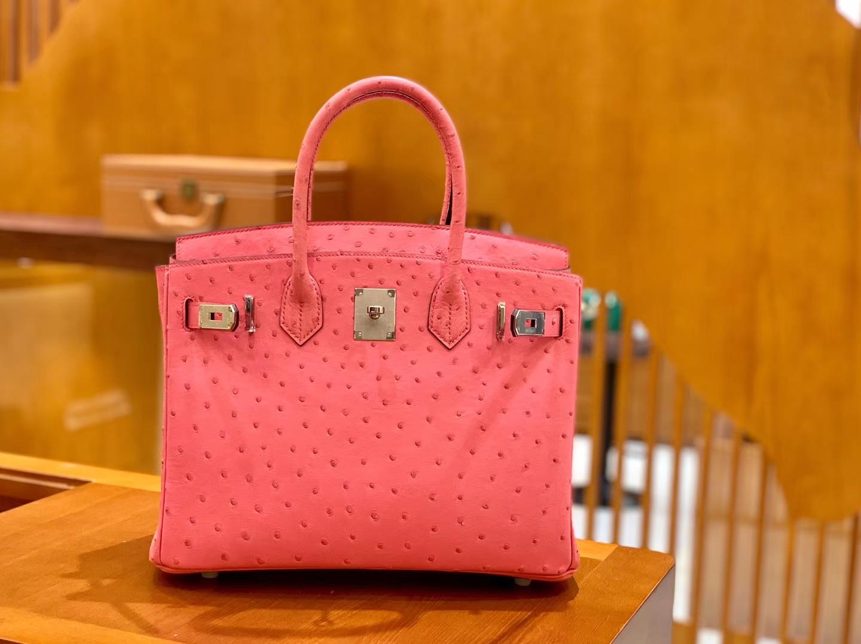Hermès(爱马仕)Birkin 铂金包 唇膏粉 鸵鸟皮 手缝工艺 银扣 30cm 现货