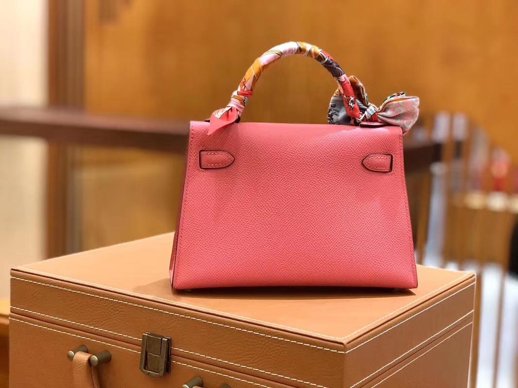 Hermès(爱马仕)Mini kelly 迷你凯莉 唇膏粉 掌纹小牛皮 全手工缝制 臻品级别 银扣 19cm 现货
