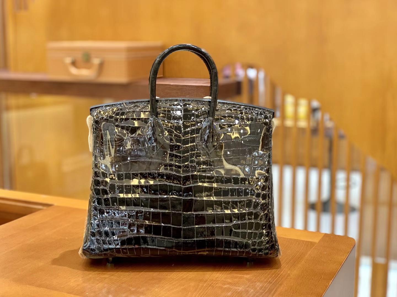 Hermès(爱马仕)Birkin 铂金包 经典黑 一级皮 尼罗鳄鱼皮 臻品级别 金扣 25cm