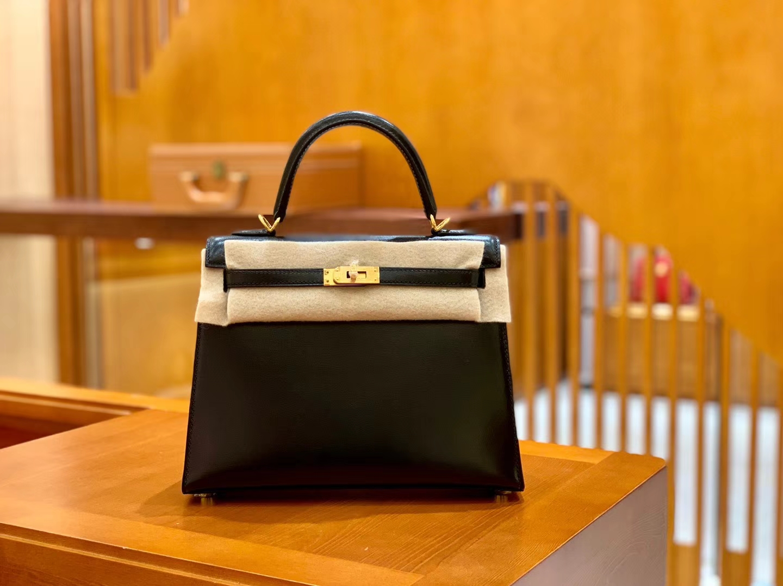Hermès(爱马仕)Kelly 25cm 经典黑 银扣 BOX猫爪纹牛皮 全手工缝制 臻品工序
