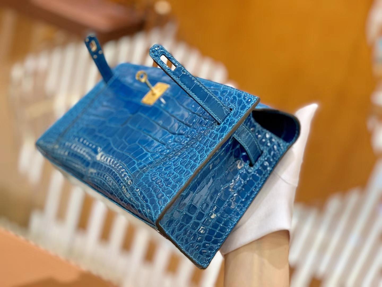 Hermès(爱马仕)Mini Kelly 迷你凯莉 伊滋密尔蓝 一级尼罗鳄鱼皮 全手工缝制 金扣 22cm