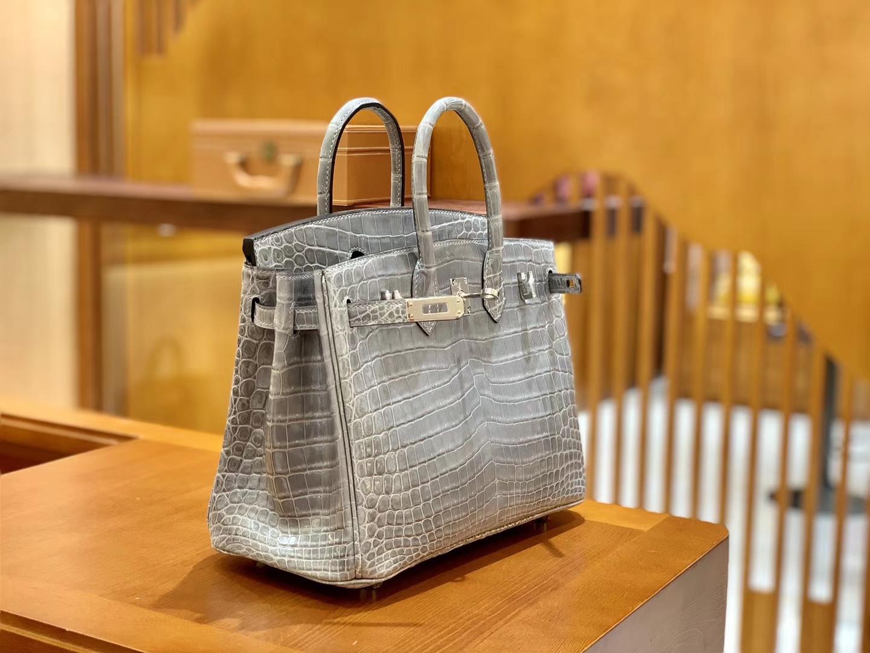 Hermès(爱马仕)Birkin 铂金包 巴黎灰 一级皮 尼罗鳄鱼皮 臻品级别 银扣 25cm