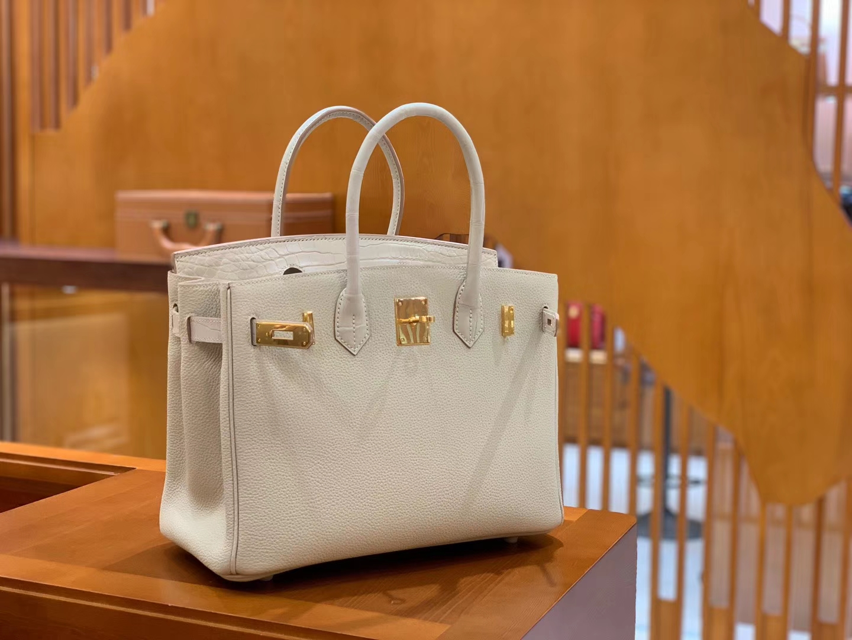 Hermès(爱马仕)Birkin 30cm 奶昔白 金扣 鳄鱼皮拼德国togo牛皮 全手工缝制