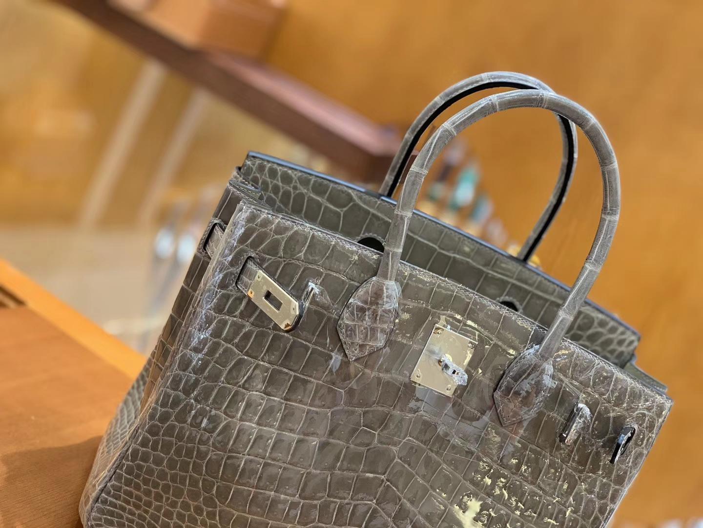 Hermès(爱马仕)Birkin 铂金包 斑鸠灰 一级皮 尼罗鳄鱼皮 臻品级别 银扣 30cm
