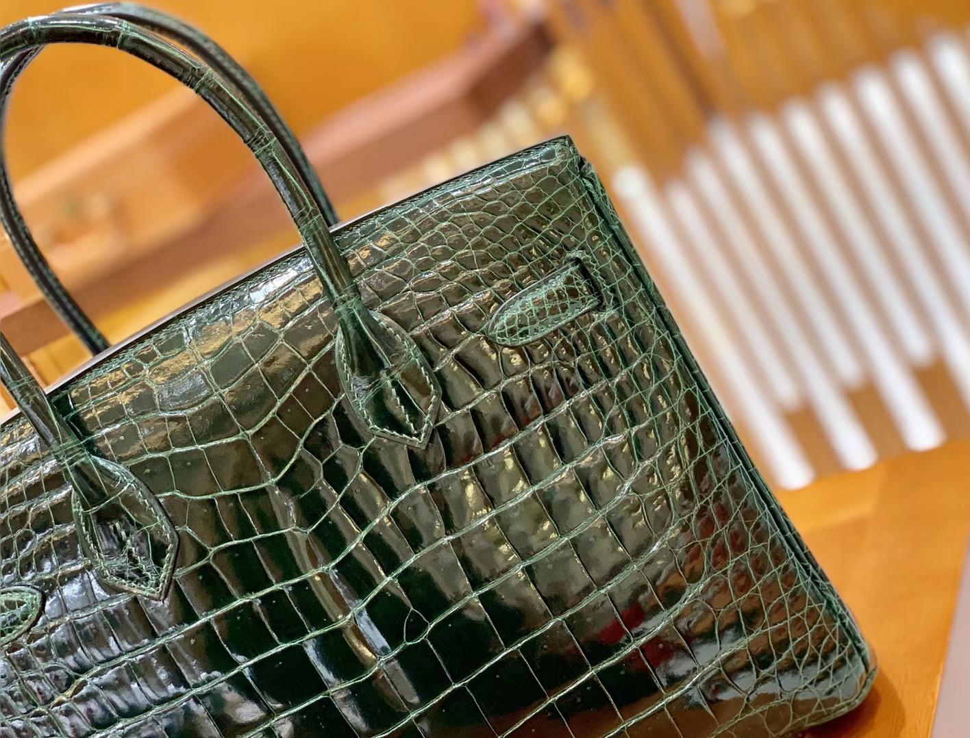 Hermès(爱马仕)Birkin 30cm 祖母绿 金扣 一级皮湾鳄鱼皮 臻品级别