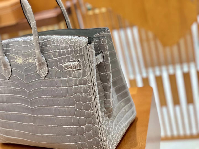 Hermès(爱马仕)Birkin 35cm 巴黎灰 银扣 一级皮 尼罗鳄鱼皮 臻品级别
