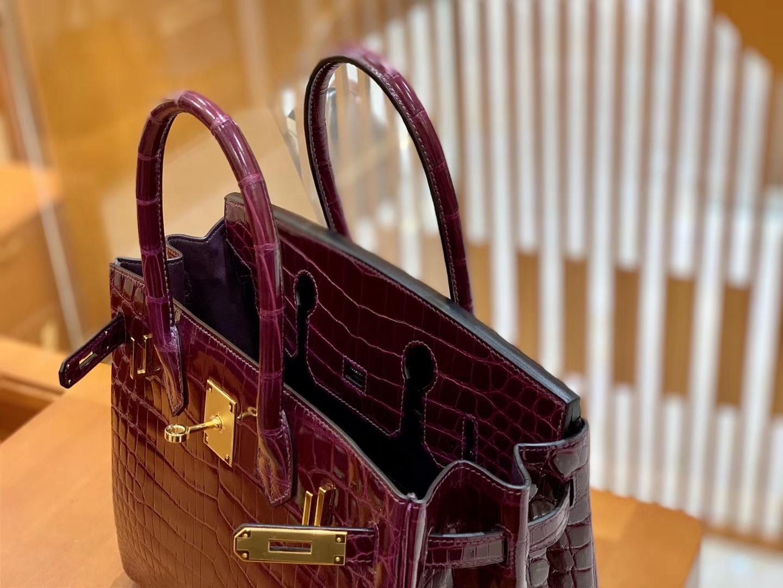 Hermès(爱马仕)Birkin 30cm 葡萄紫 金扣 一级皮 尼罗鳄鱼皮 臻品级别
