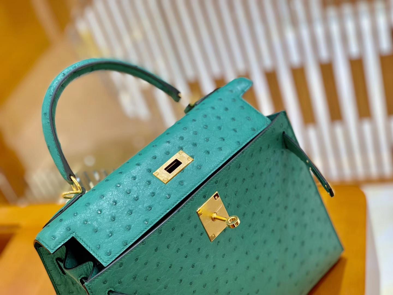 Hermès(爱马仕)Kelly 28cm 湖水绿 金扣 南非KK鸵鸟皮 全手工缝制