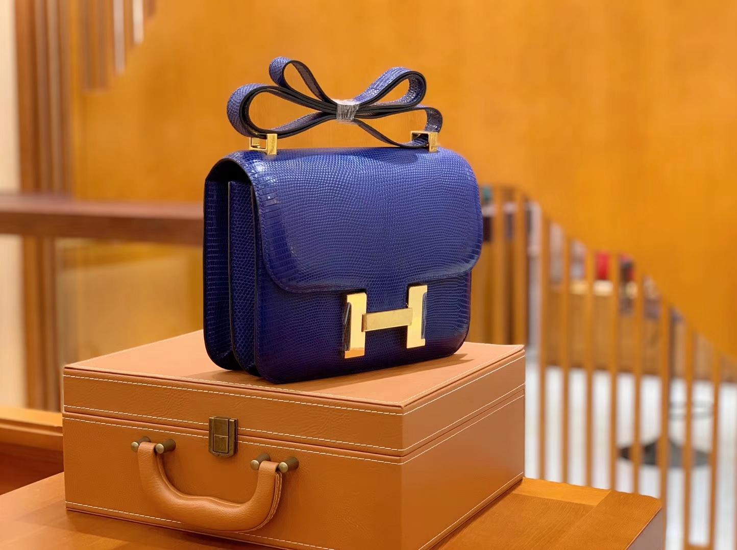 Hermès(爱马仕)Constance 空姐包 琉璃蓝 野生蜥蜴皮 全手工缝制 23cm 金扣 现货