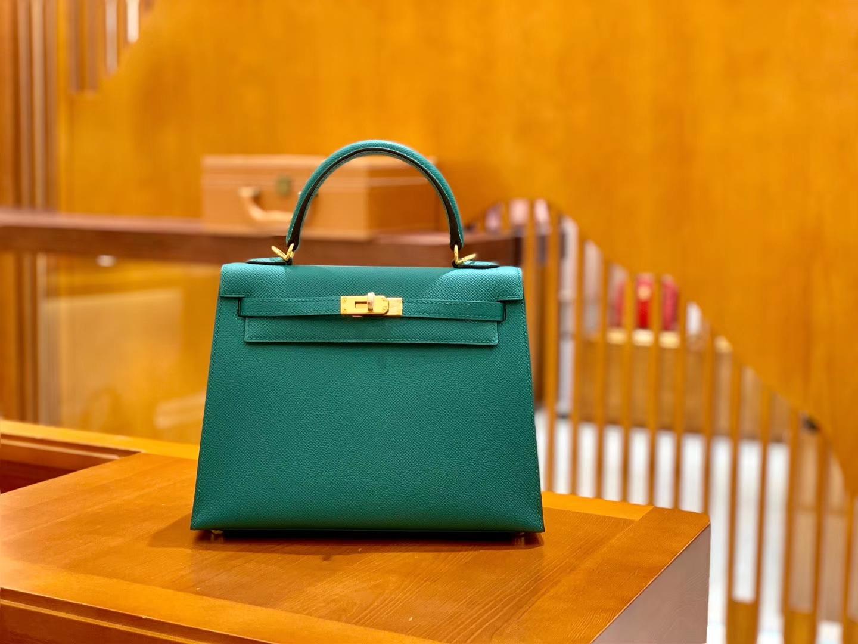 Hermès(爱马仕)Kelly 凯莉包 孔雀绿 掌纹牛皮 进口原料 臻品级别 金扣 28cm 现货