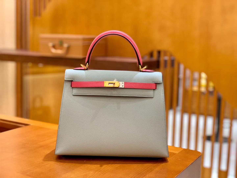Hermès(爱马仕)Kelly 25cm 唇膏粉拼海鸥灰 金扣 掌纹牛皮 全手工缝制 现货