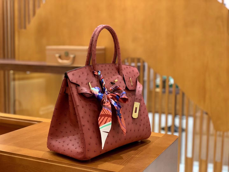 Hermès(爱马仕)Birkin 铂金包 石榴红 鸵鸟皮 手缝工艺 金扣 30cm 现货