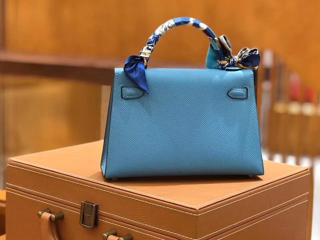 Hermès(爱马仕)Mini kelly 迷你凯莉 北方蓝 掌纹小牛皮 全手工缝制 臻品级别 银扣 19cm 现货