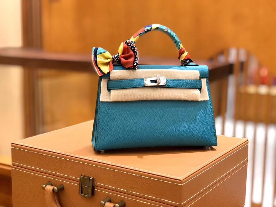 Hermès(爱马仕)Mini kelly 迷你凯莉 孔雀蓝 掌纹小牛皮 全手工缝制 臻品级别 银扣 19cm 现货