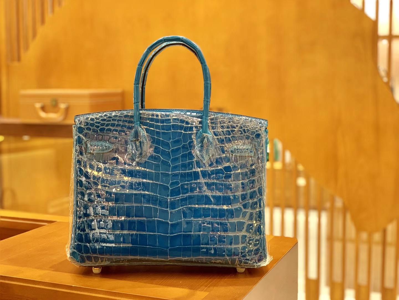 Hermès(爱马仕)Birkin 铂金包 伊滋密尔蓝 一级皮 尼罗鳄鱼皮 臻品级别 金扣 30cm