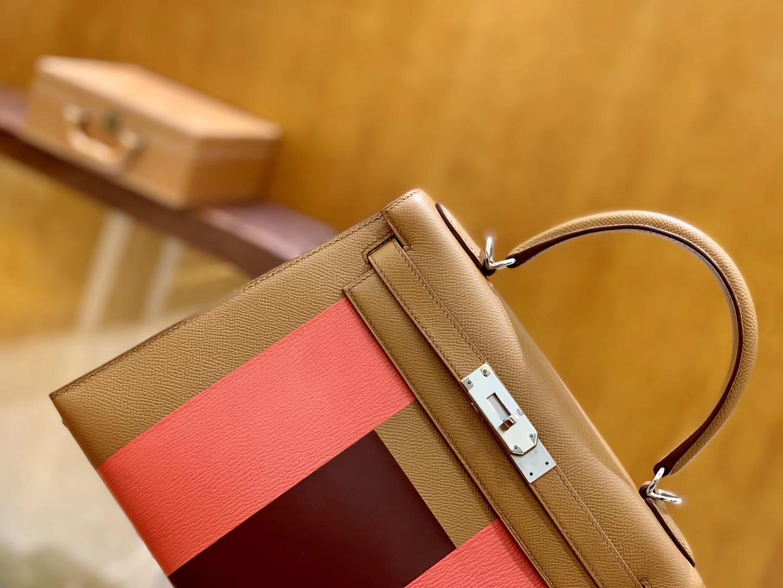 Hermès(爱马仕)Kelly凯莉包 掌纹小牛皮 字母包 金棕色+唇膏粉+啡色 进口原料 原版蜜蜡线 28cm
