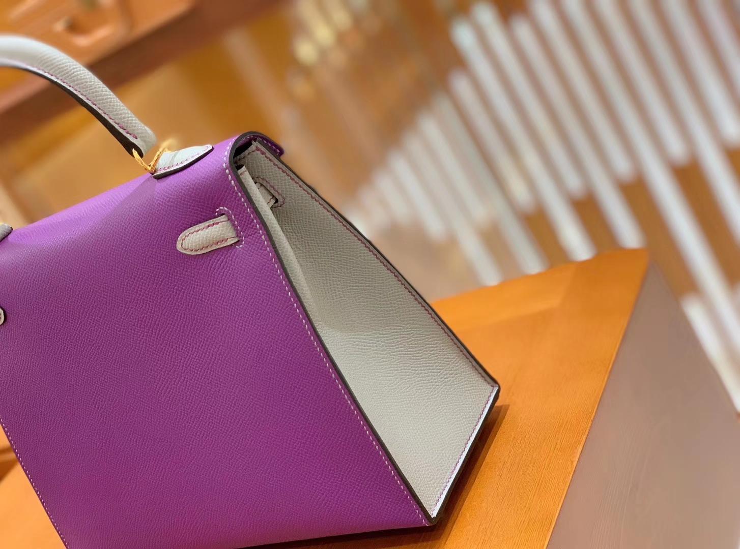 Hermès(爱马仕)Kelly 凯莉包 海葵紫拼海鸥灰 掌纹德国进口牛皮 全手工 金扣 25cm 现货