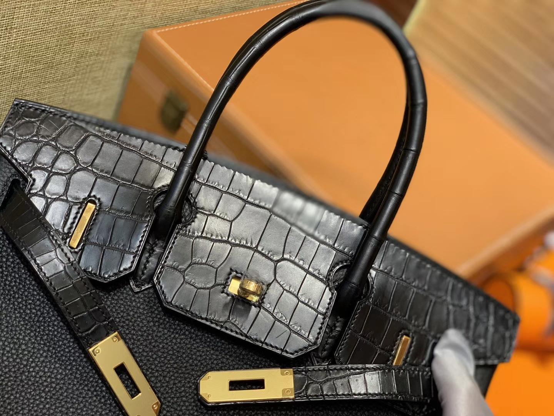 Hermès(爱马仕)Birkin 铂金包 经典黑 鳄鱼皮拼德国togo牛皮 全手工缝制 金扣 30cm
