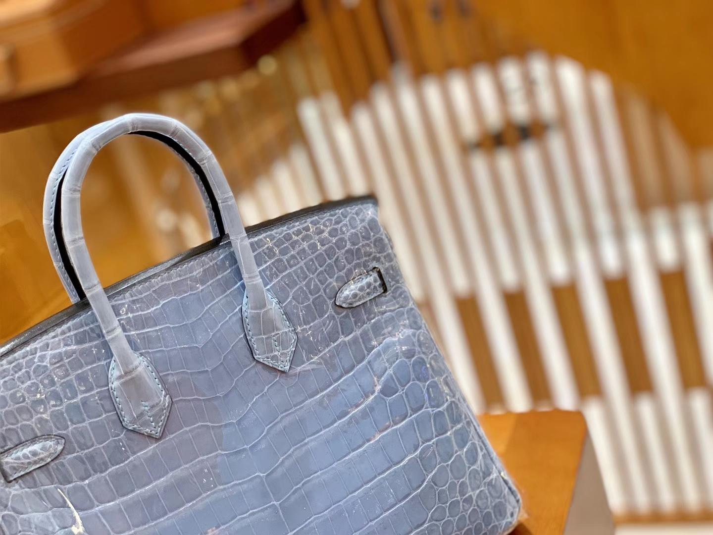 Hermès(爱马仕)Birkin 铂金包 北方蓝 一级皮 尼罗鳄鱼皮 臻品级别 金扣 25cm