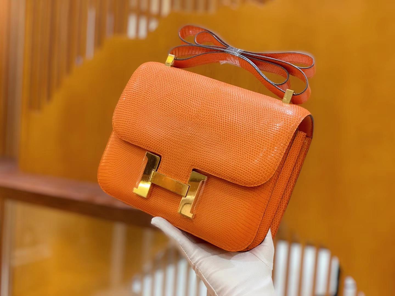 Hermès(爱马仕)Constance 空姐包 经典橙 野生蜥蜴皮 全手工缝制 23cm 金扣 现货